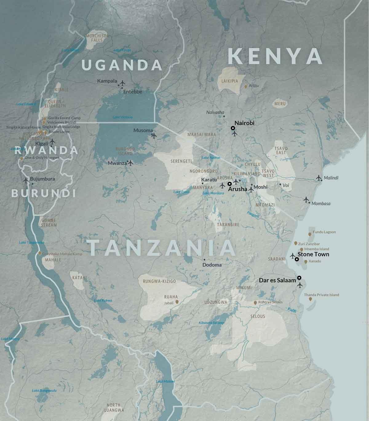 Detailed map of East Africa including Kenya, Uganda, Tanzania, Rwanda and Burundi