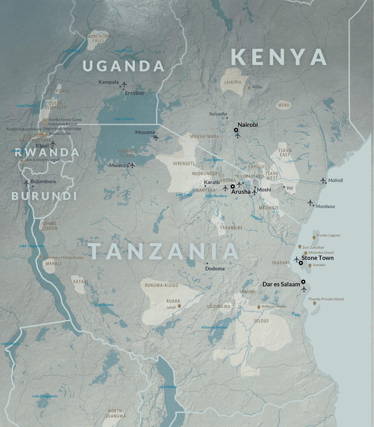 Map of Kenya & Tanzania   Go2Africa