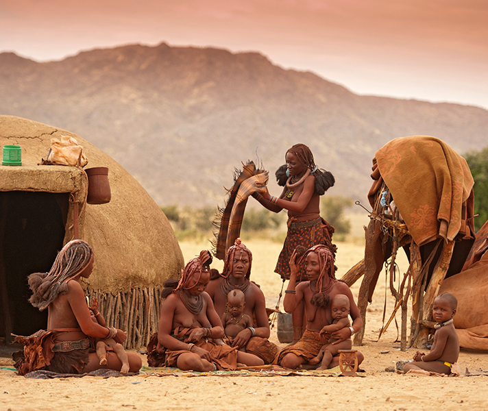 The Himba live a semi-nomadic lifestyle in the north, yet are accepting of visitors & will show off their intricate hair styles and ochre cladding.