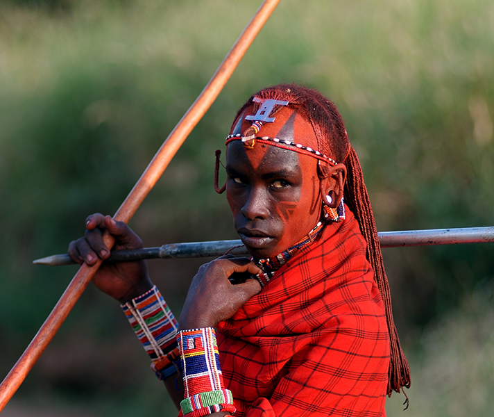 Maasai warriors take great pride in their traditional dress.