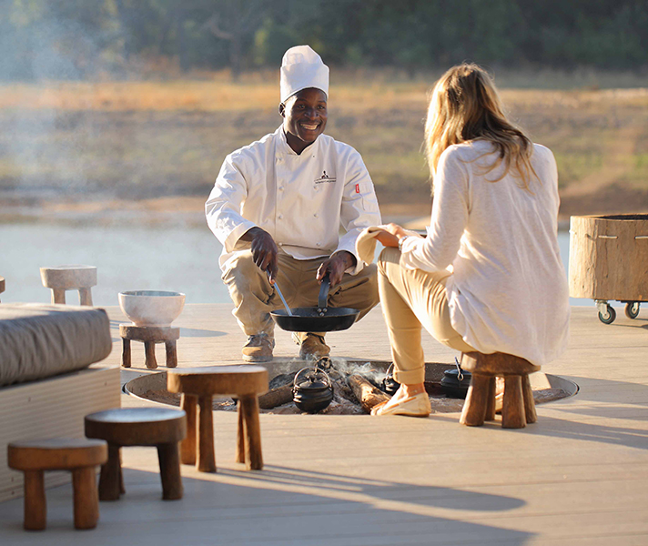 Expect a simple but flavoursome menu at remote lodges like Chinzombo.