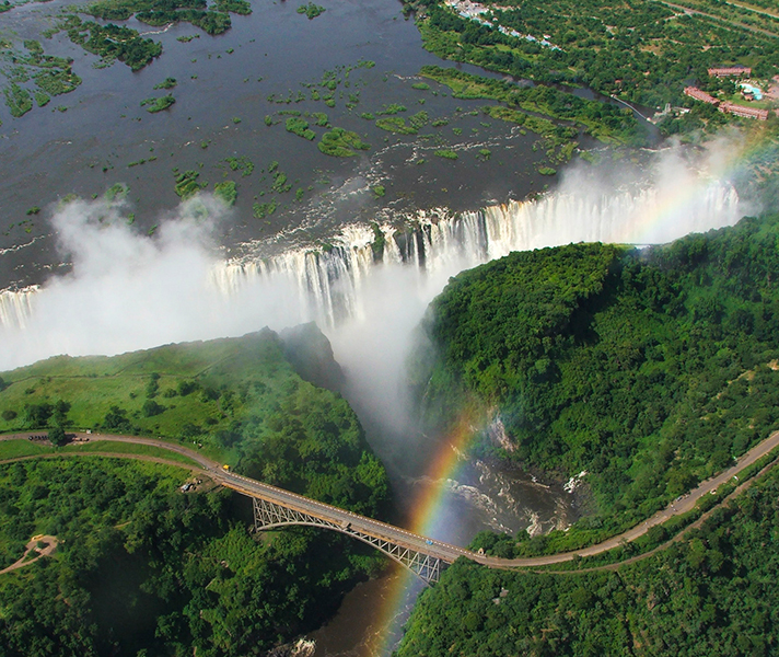 Two-thirds of Victoria Falls lies on the Zimbabwean side of the border.