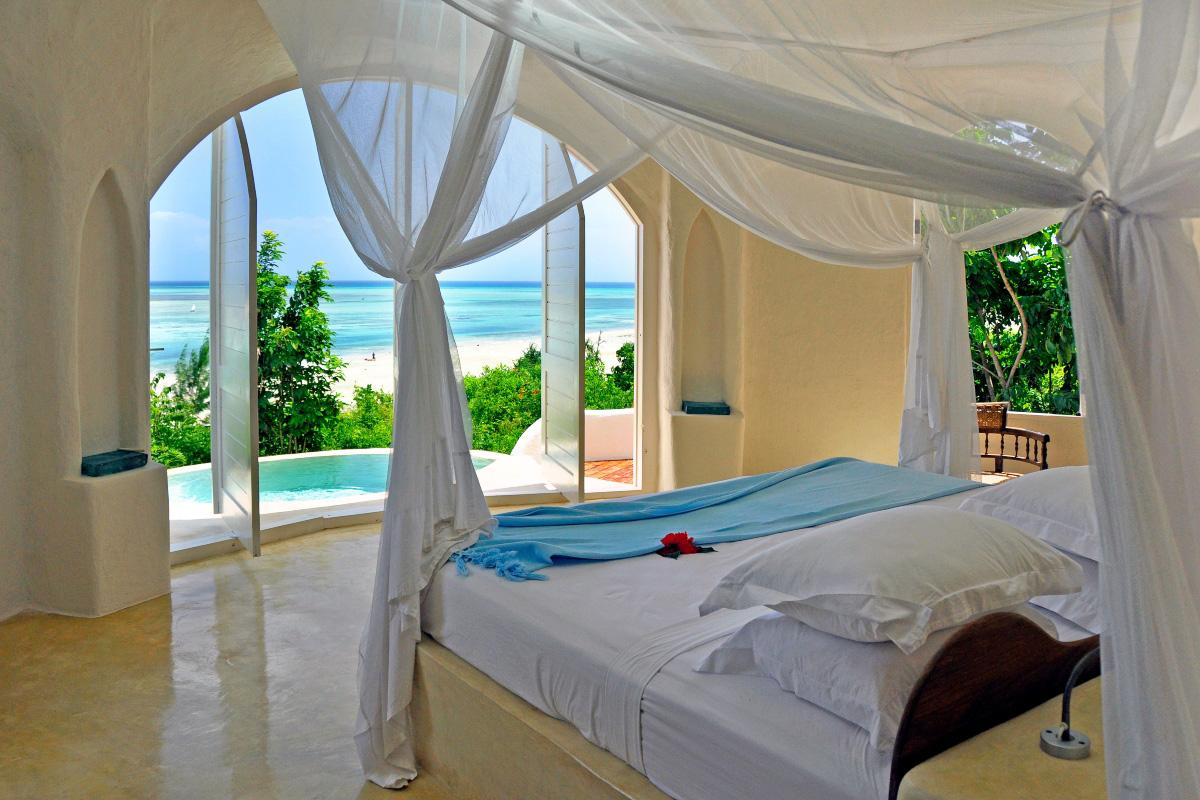 Interior view of Kilindi luxury boutique hotel in Zanzibar, Tanzania