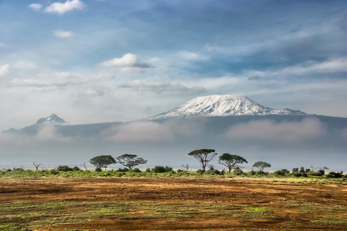 Snow capped Mount Kilimanjaro from Kenya