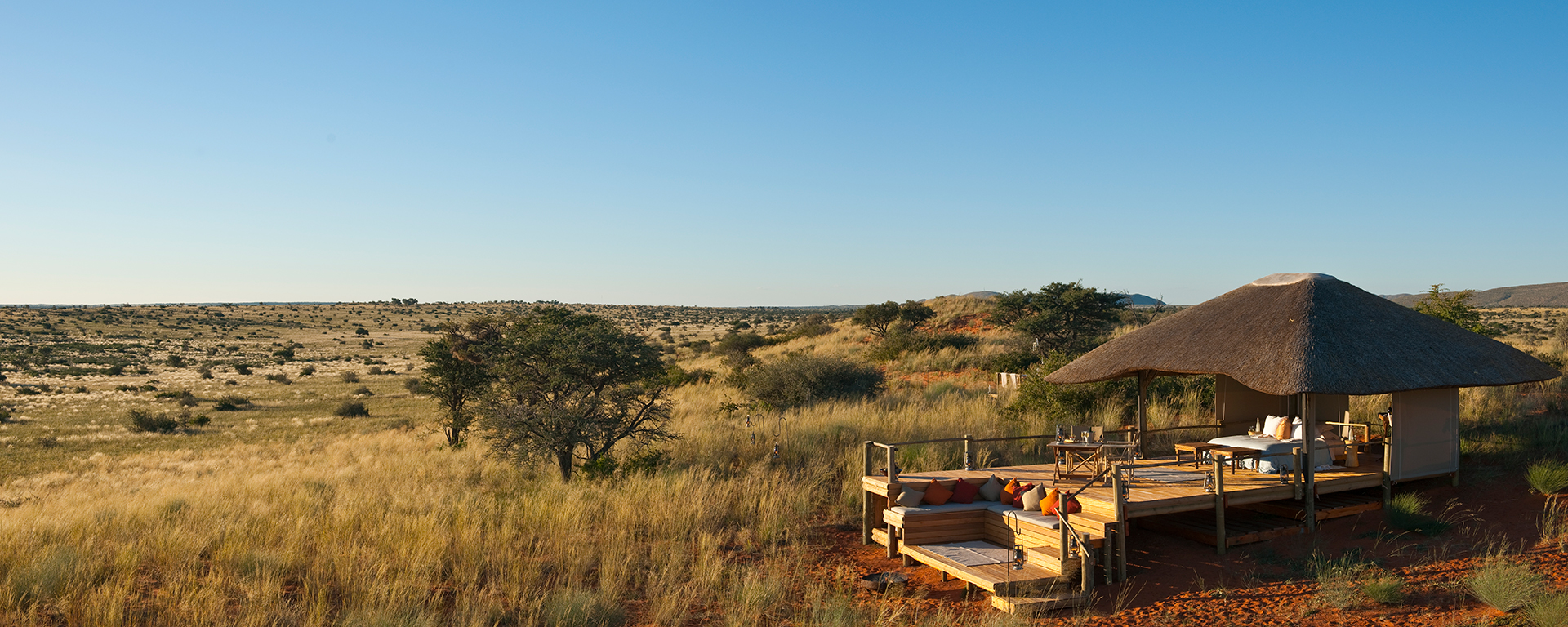 Malori is Tswalu's private sleepout deck. It comes complete with an uninterrupted view of the Kalahari savannah.