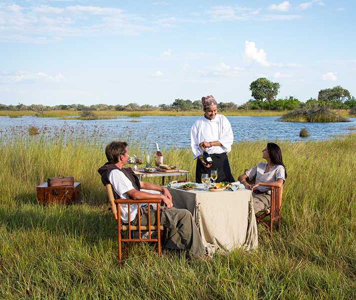 Enjoy a private dining experience at Vumbura Plains in the Delta.