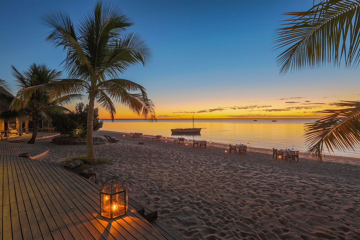 Sunset from Benguerra Island on a luxury Mozambique beach resort