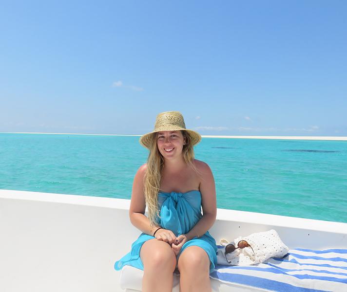 Tatham enjoying the sun on her private snorkelling trip at Anantara Medjumbe.