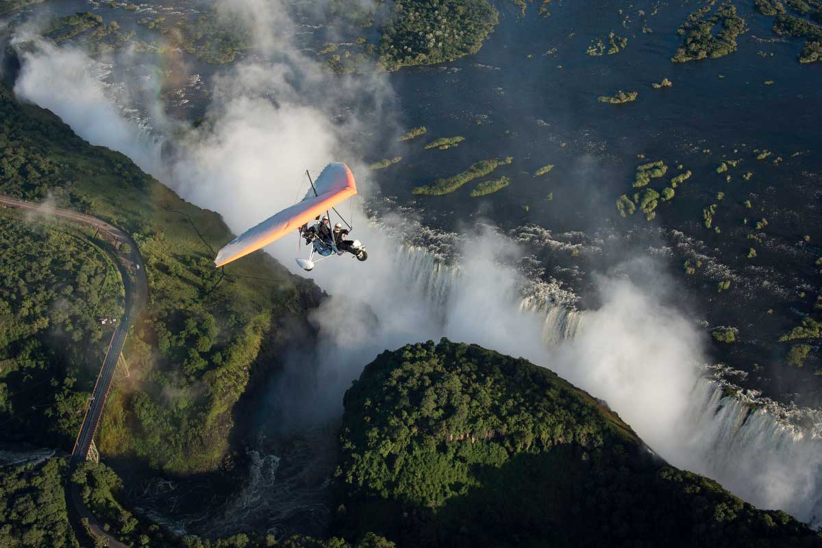 Microlights flight over the spectacular Victoria Falls in Zambia