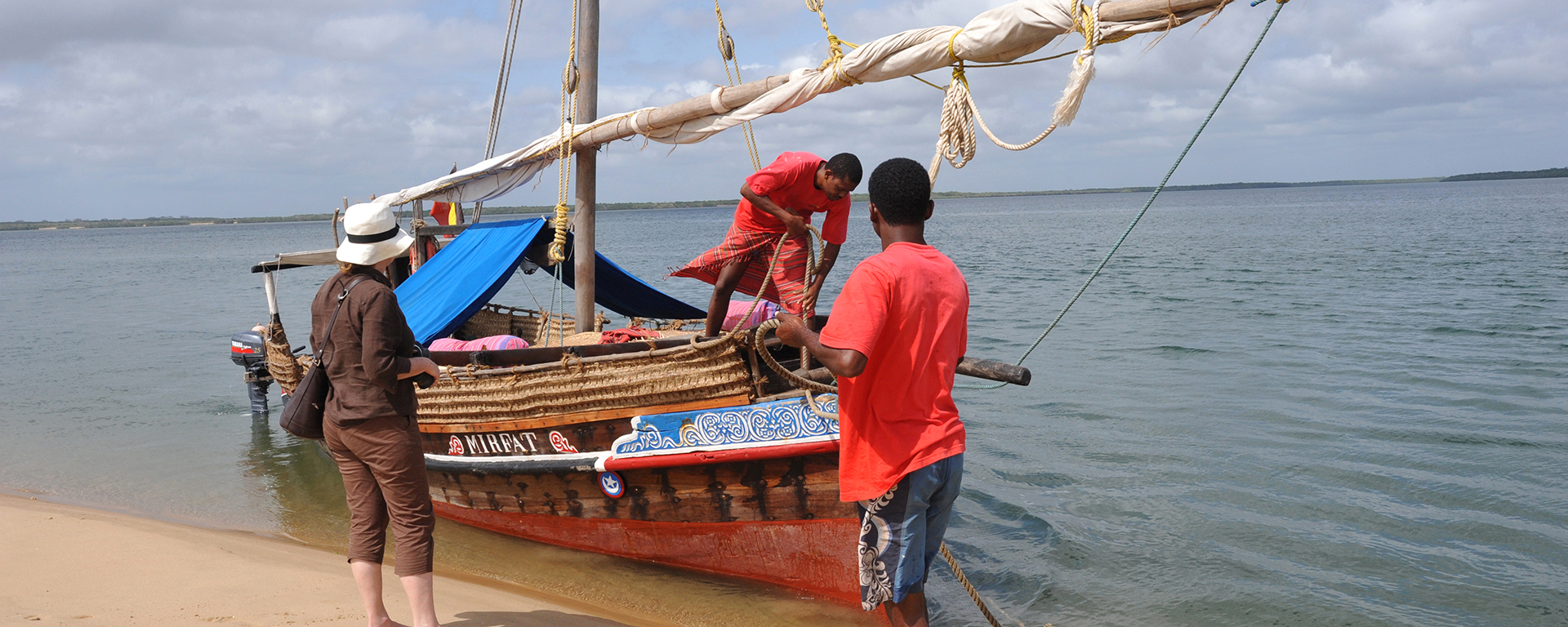 Traditional sailing dhows are a common sight along the Kenya coast.