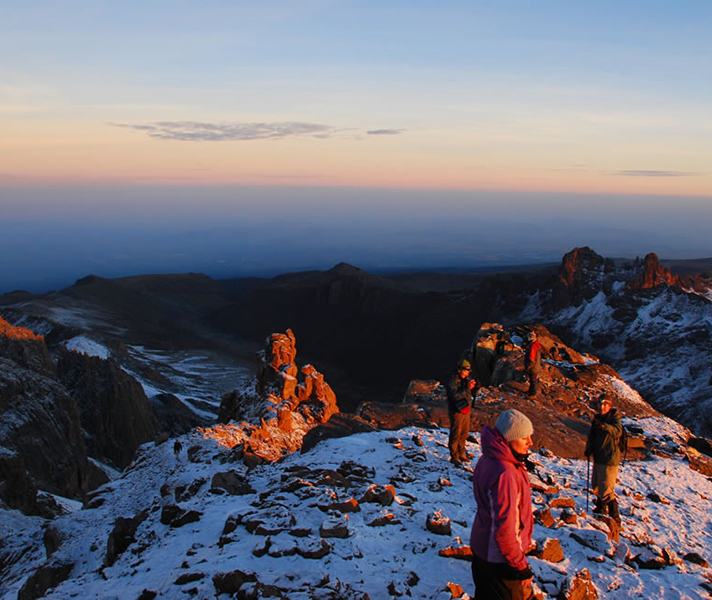 Mount Kenya at dawn as seen from Segera Retreat – Kenya's second highest peak after Kilimanjaro rises just under 5 200 metres or 17 000 feet.