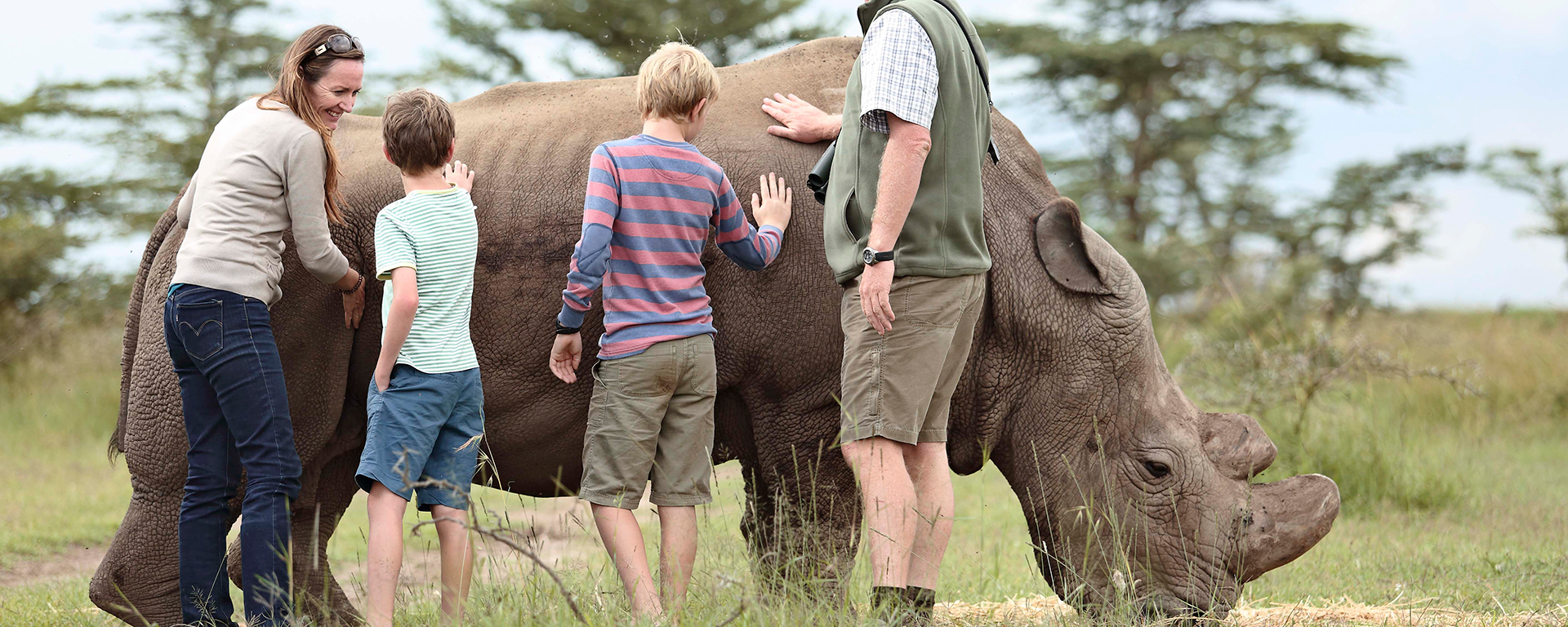 Interacting with a black rhino at Ol Pejeta. Many of these rhino have had their horns removed as part of efforts to spare them from the poachers' bullets and chainsaws. You can read about rhino notching and rhino translocation.
