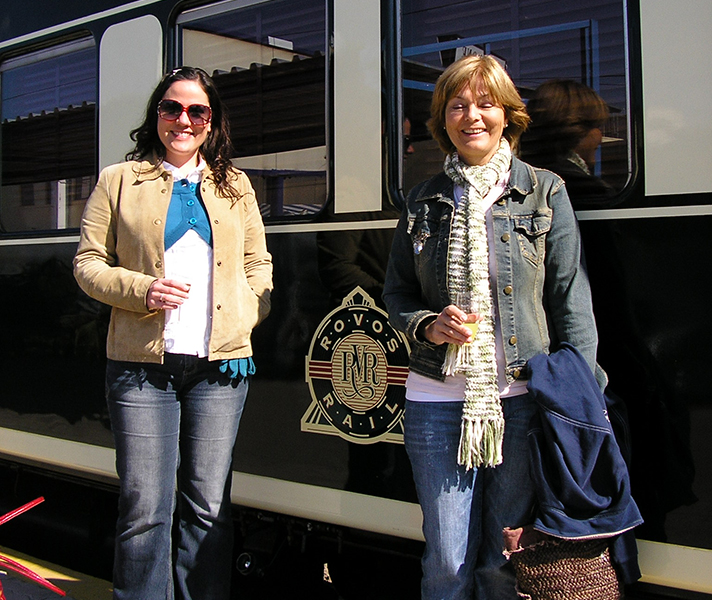 Go2Africa product manager Liesel and Africa Safari Expert Maureen and their moms dressed for daytime excursions off the train.