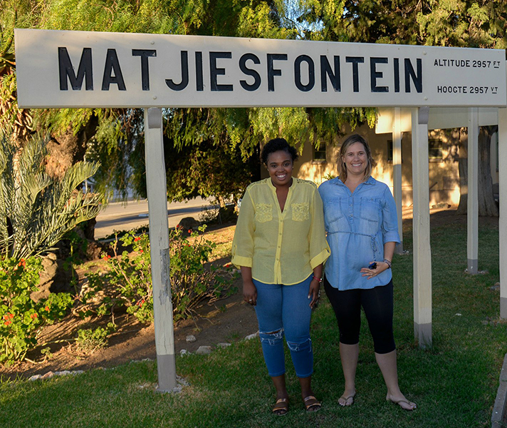 Africa Safari Experts Milady and Emma stretch their legs at Matjiesfontein outside Cape Town.