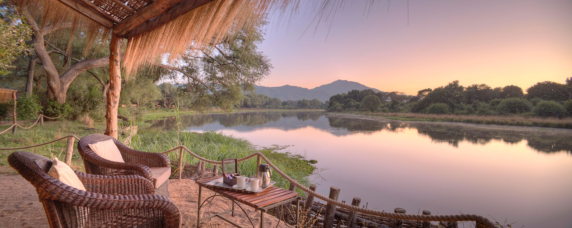 Savour the exquisite view over the river with a fresh cup of coffee or tea at Chongwe.