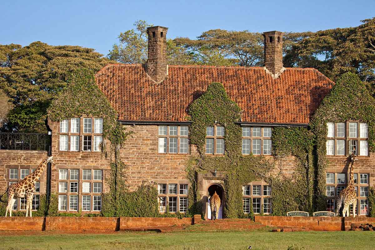 The beautiful grounds and exterior of The Giraffe Manor in Kenya.