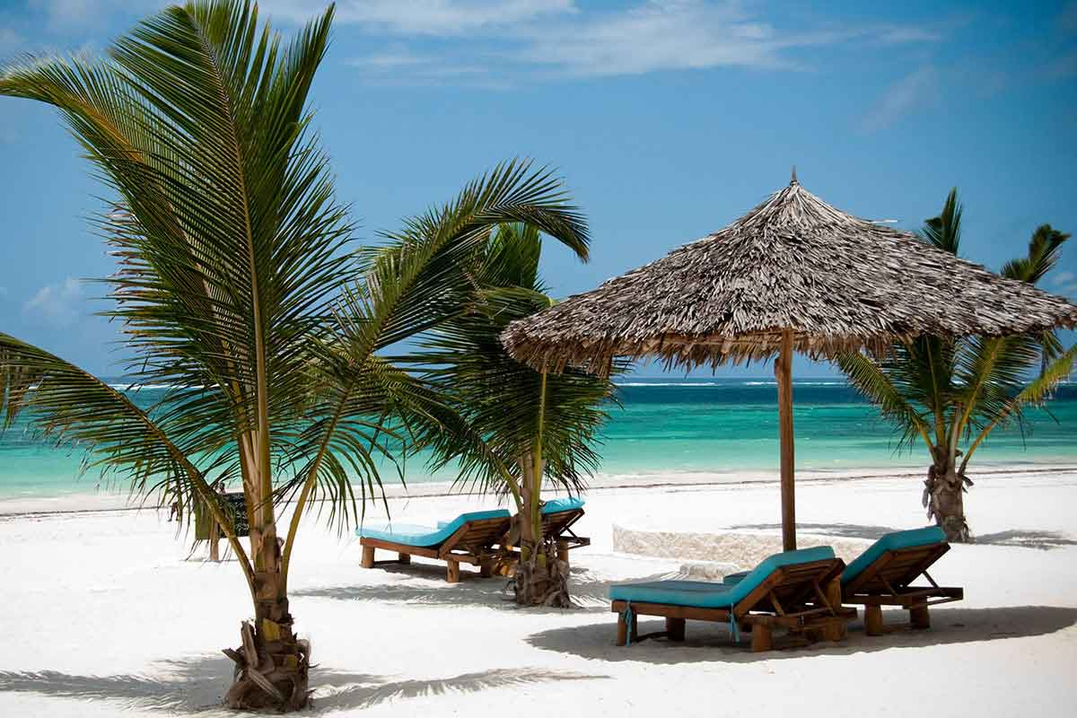 Diani Beach offers powder-soft sand and crystal-clear water.