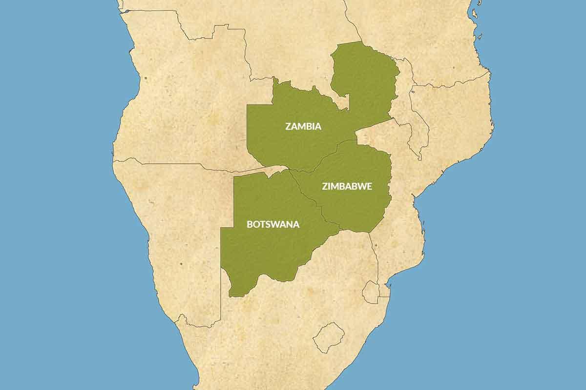 A map of Africa highlighting Botswana, Zimbabwe and Zambia