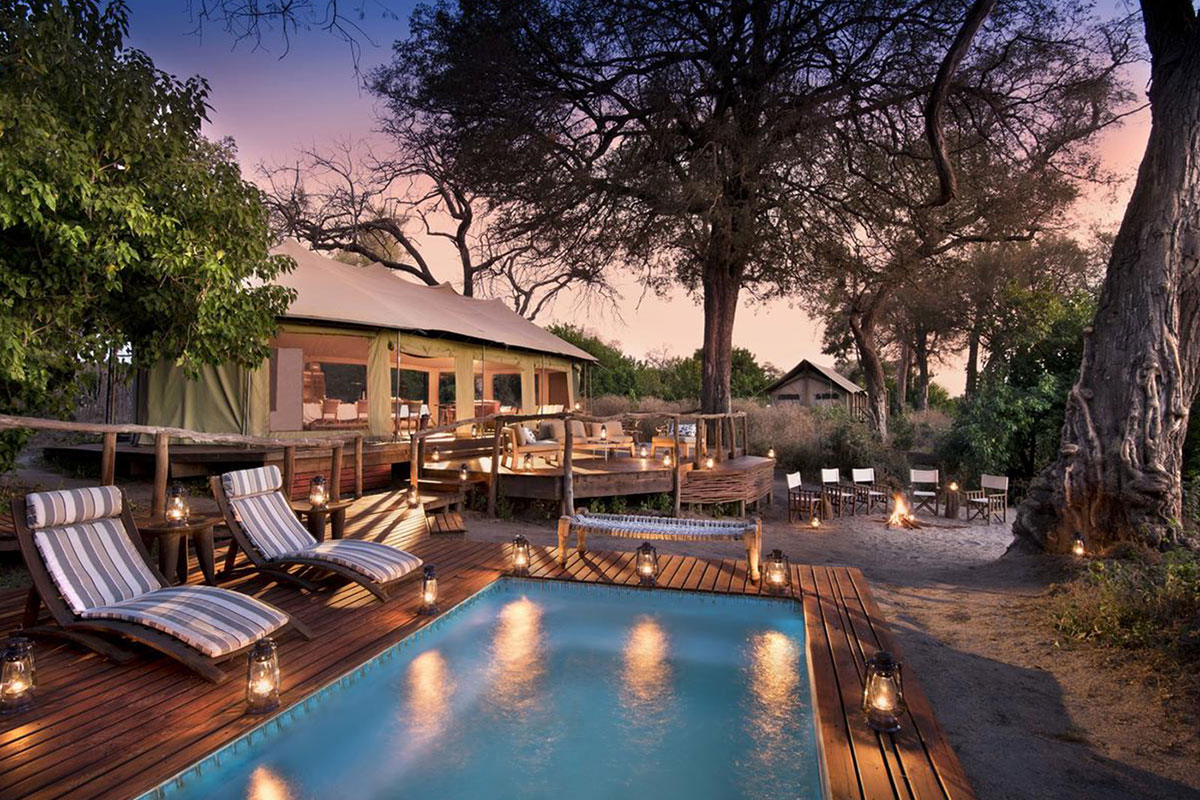 A very intimate camp consisting of 4 luxury en-suite tents on the banks of the Linyanti River in Northern Botswana.