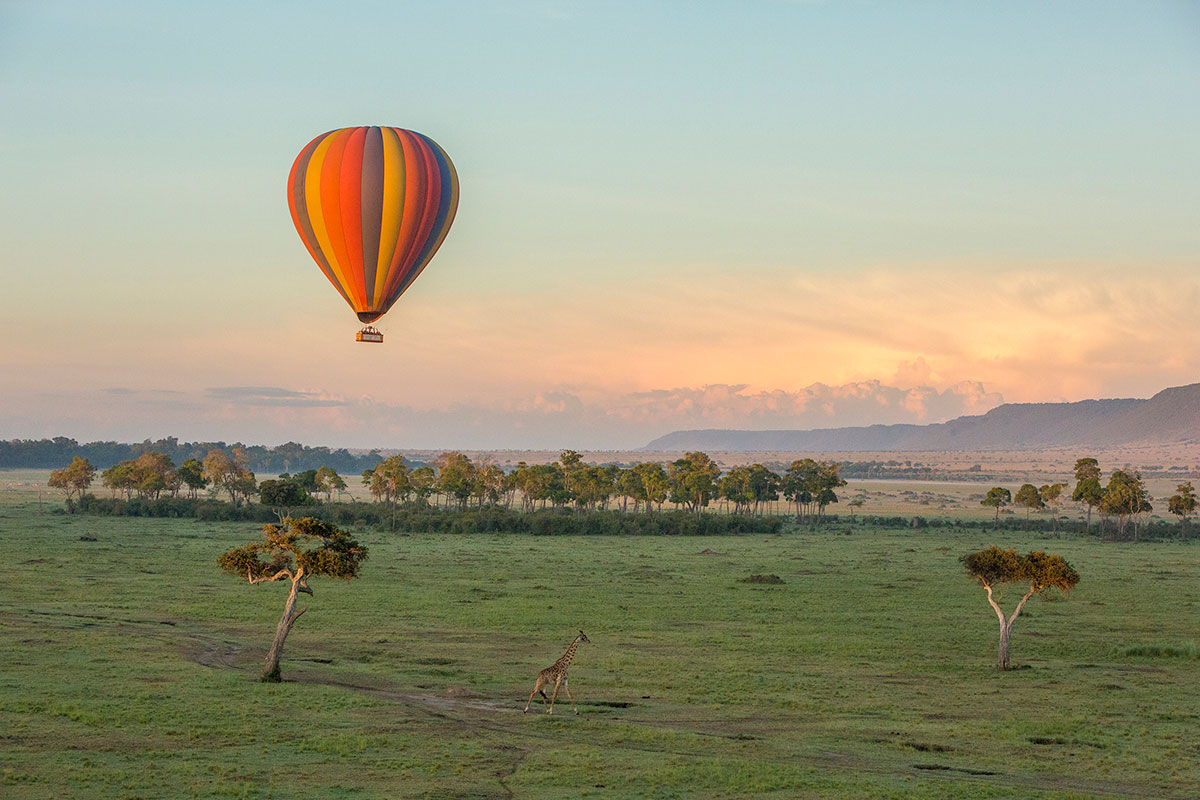 Hot-air balloon safari during sunset in the Masai Mara, Kenya