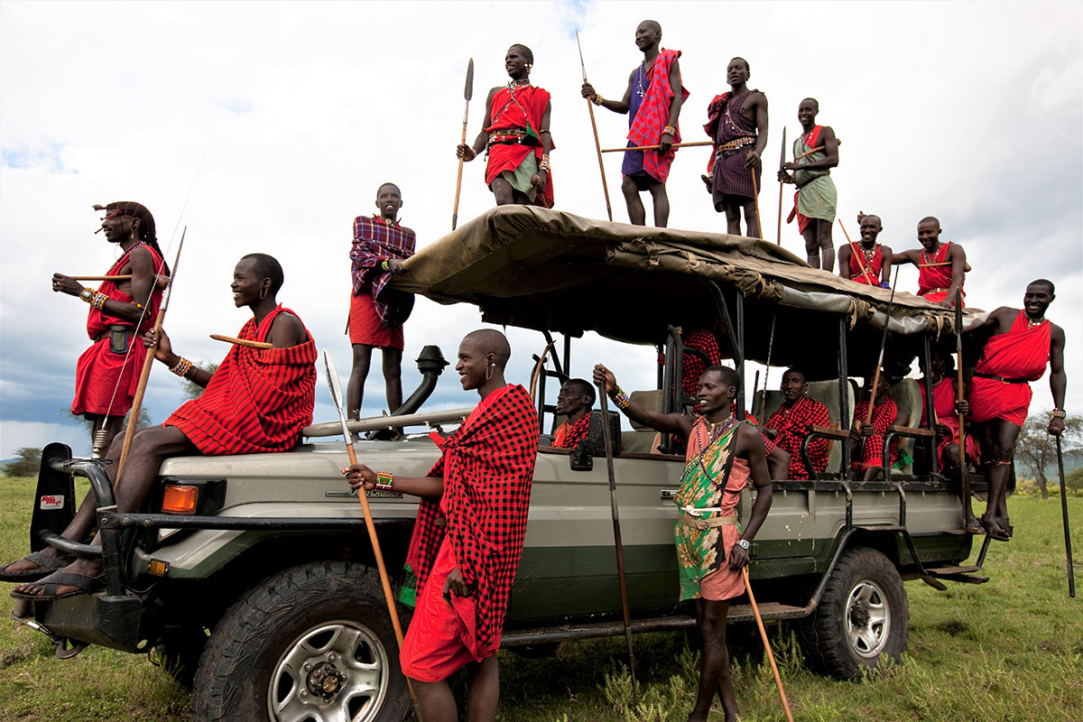 The Maasai safari guides at Cottar;s 1920s Camp in the Masai Mara, Kenya