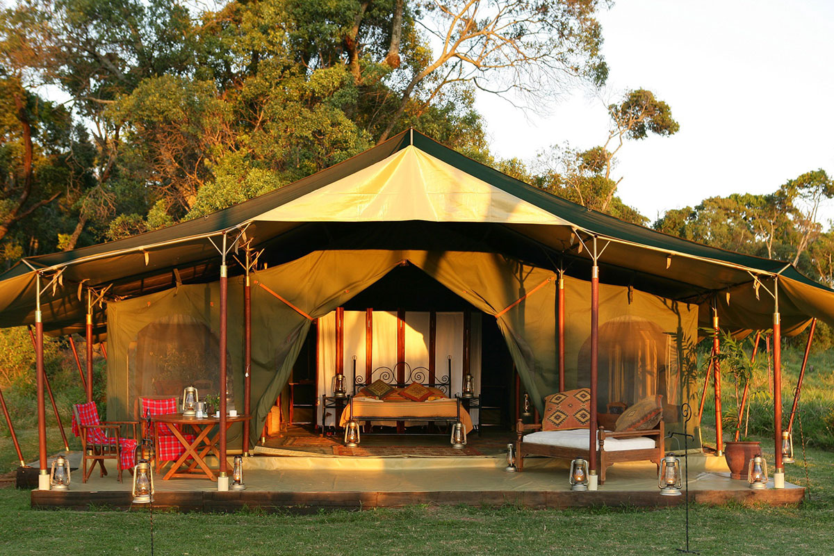 The luxurious Honeymooner's tent at Elephant Pepper Camp in the Masai Mara, Kenya