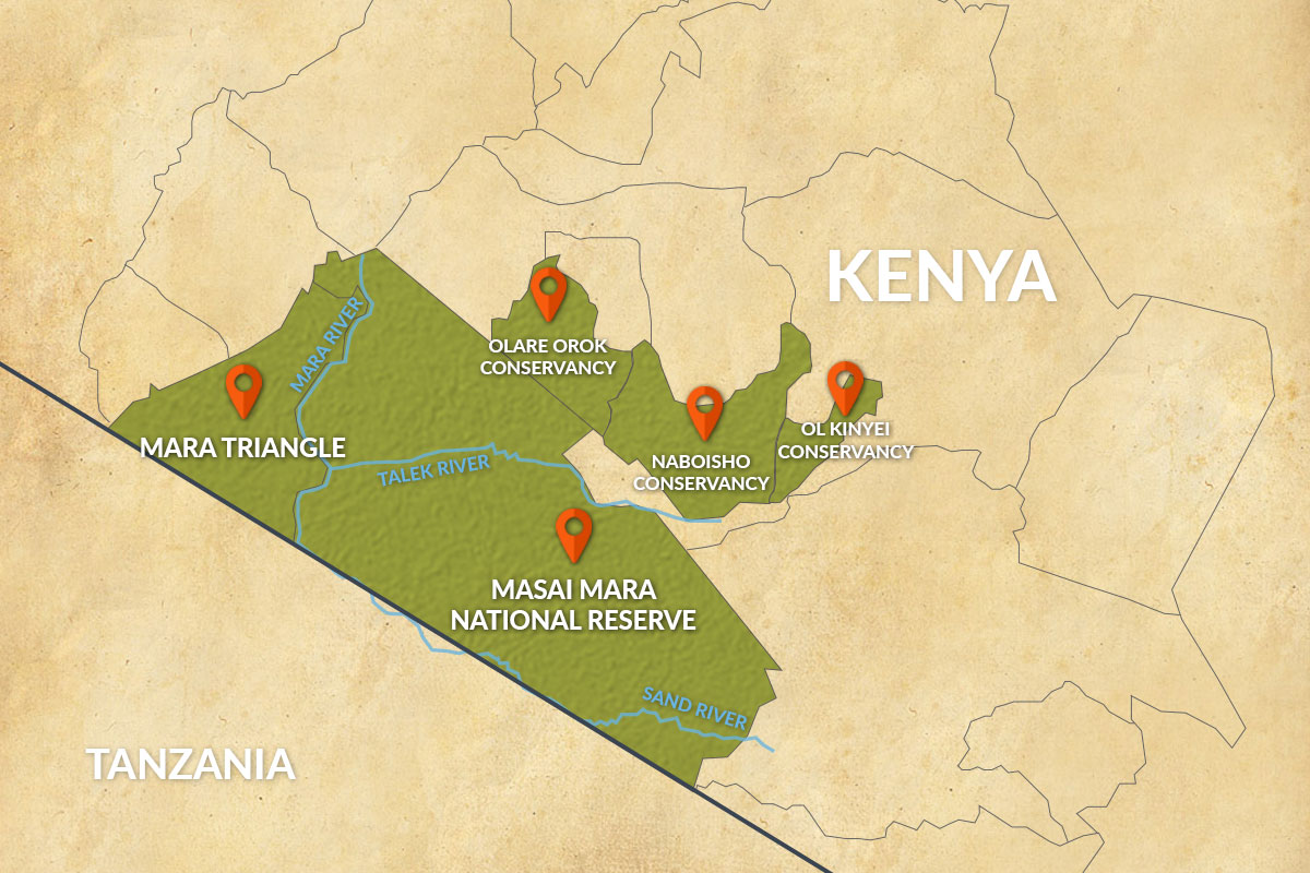 Map of the Masai Mara including the National Reserve, Mara Triangle and Conservancies in Kenya