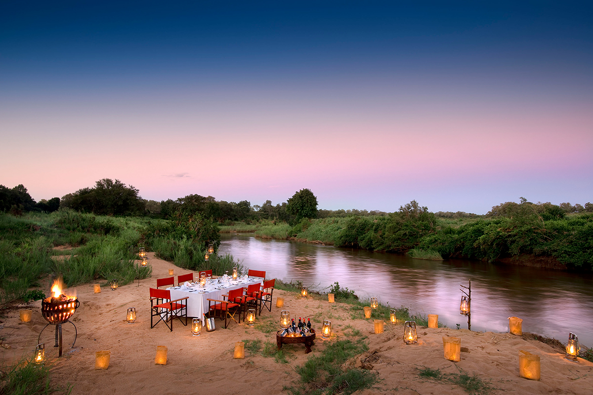 Kruger Park Safari outside dining area near river