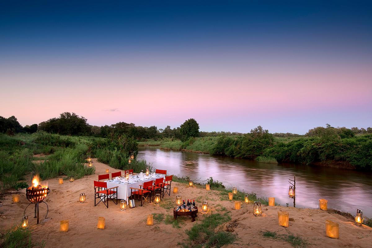 Kruger Park Safari outside dining area near river