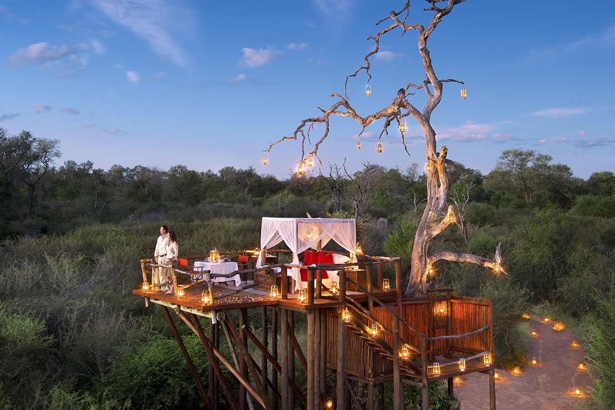 Kruger honeymoon safari celebrations setup