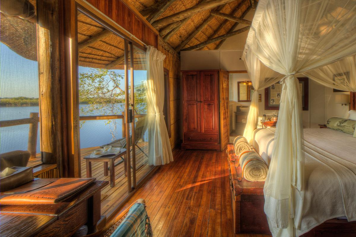 Interior view of Xugana's Island luxurious Lodge in the Okavango Delta