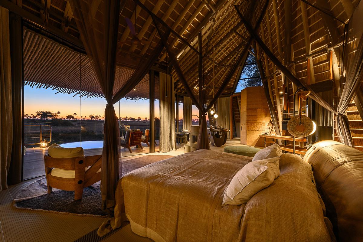 Interior view of Jao Camp in the Okavango Delta, Botswana