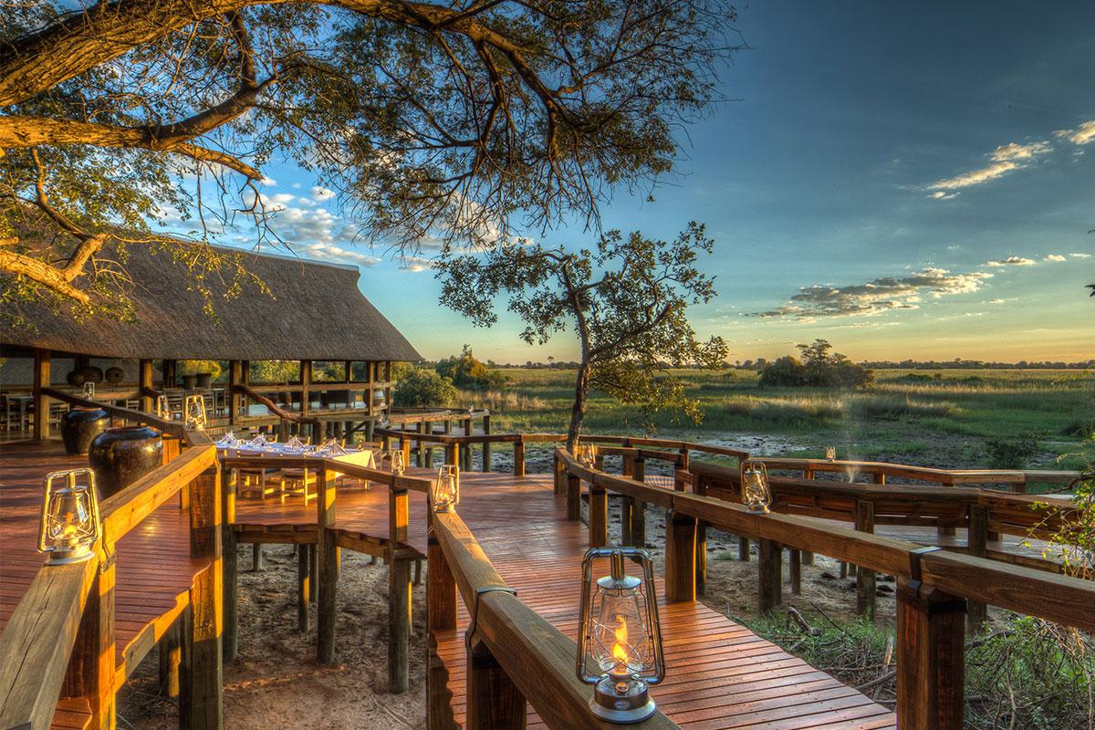 Exterior view of the luxurious Camp Okavango in the Okavango Delta