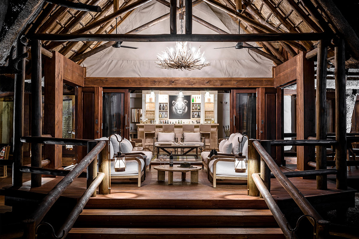 Living room & bar at one of the best camps in Botswana, Chief's Camp