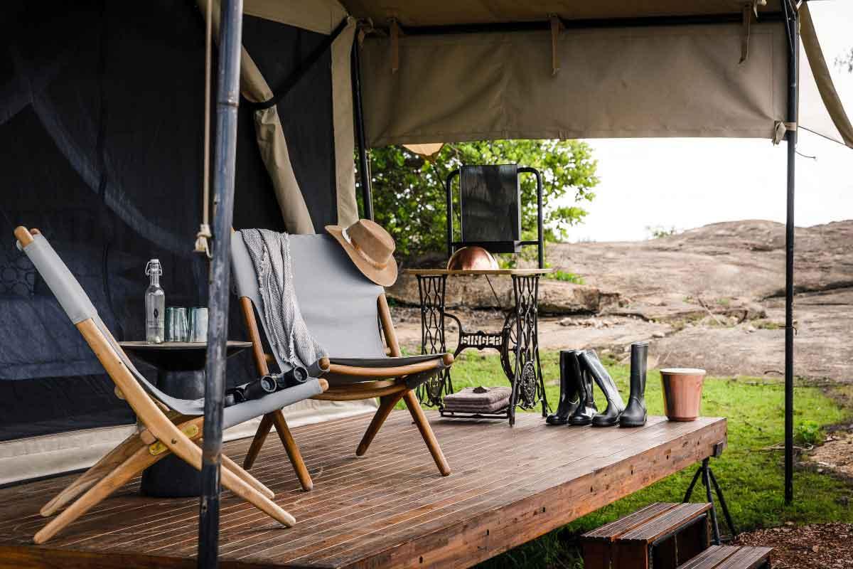 Suite veranda at Kichakani Serengeti Camp, in Northern Serengeti.