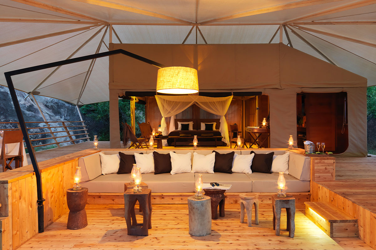 Interior view of Bushtop's luxury tented camp in the Serengeti