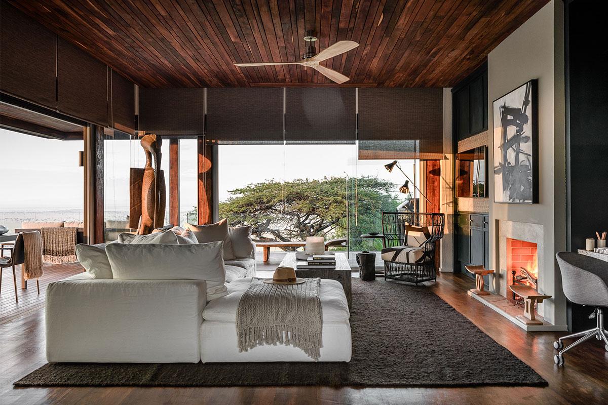 Luxurious living room at Singita Sasakwa Lodge in the Serengeti