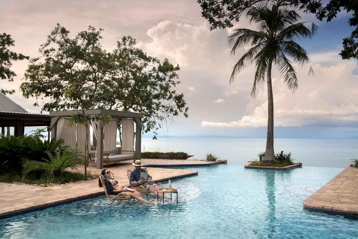The swimming pool at Bumi Hills with picturesque views of Lake Kariba, Zimbabwe.