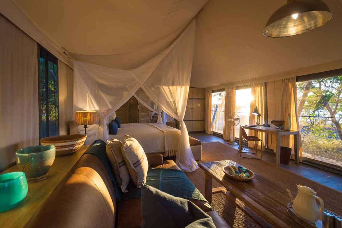 The interior of a tented suite at Ruckomechi Camp, Mana Pools.