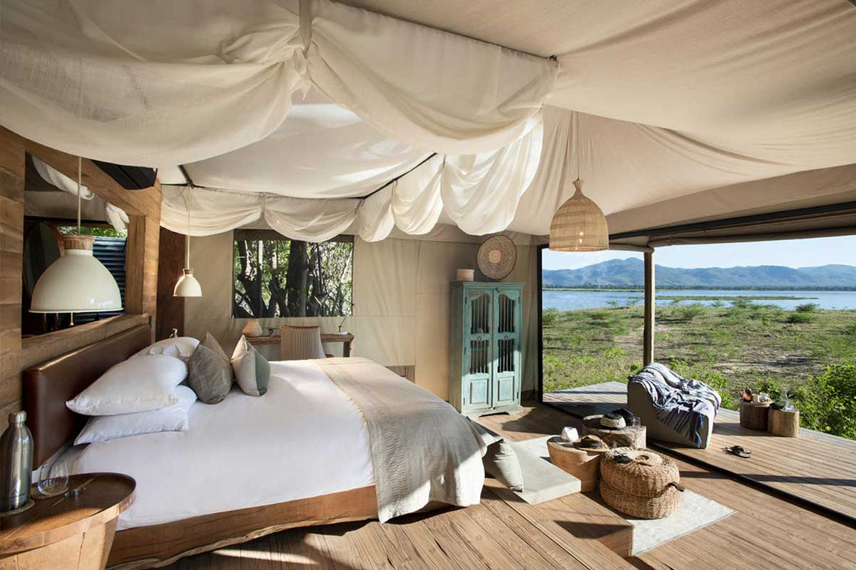 Nyamatusi's eco chic suite interior with a view of the Zambezi River, Mana pools.