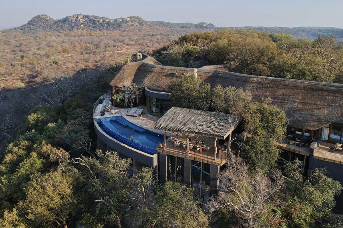 Aerial view of Malilangwe House in Pamushana, Zimbabwe.