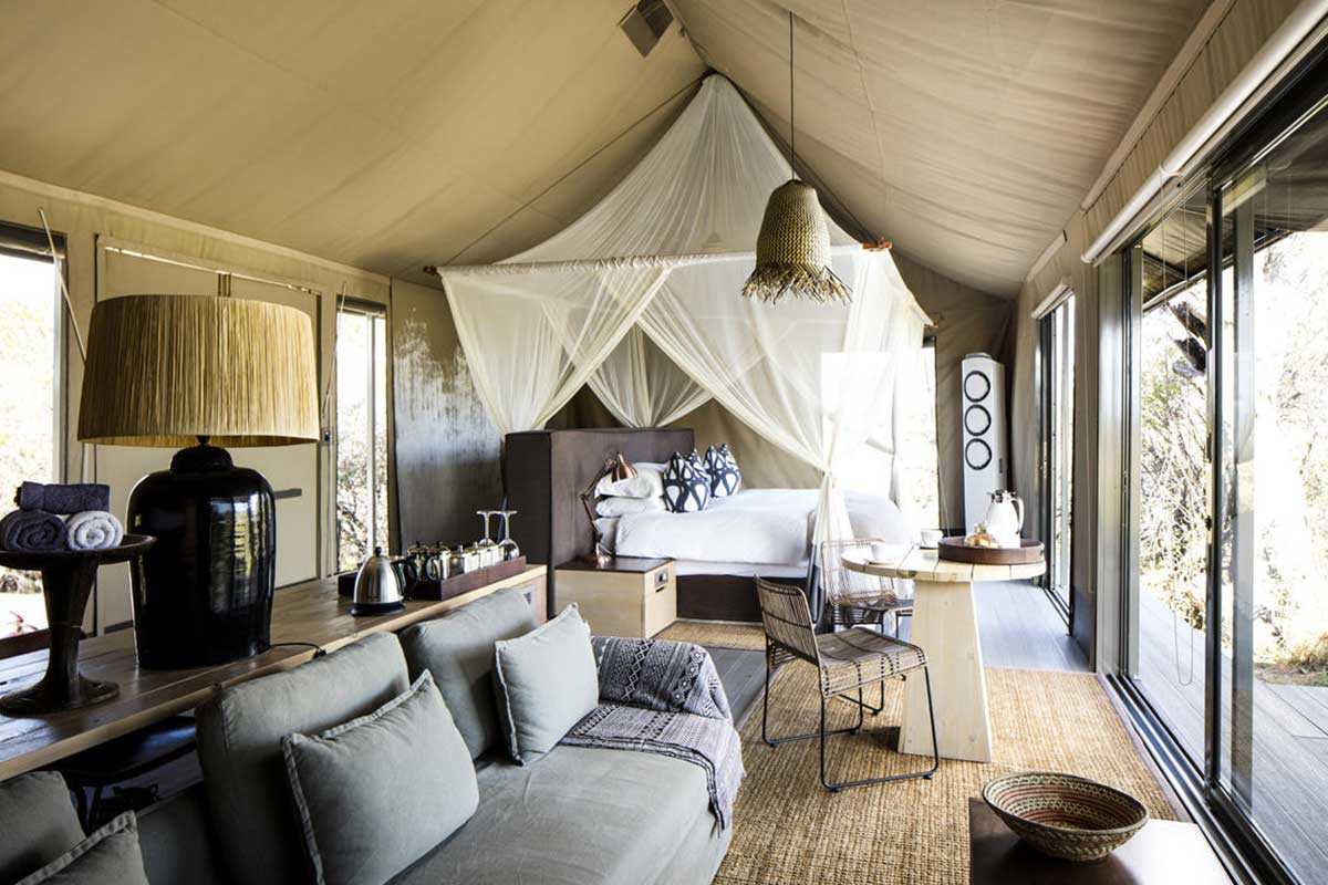 The interior of a luxurious suite at Linkwasha in Hwange National Park, Zimbabwe.