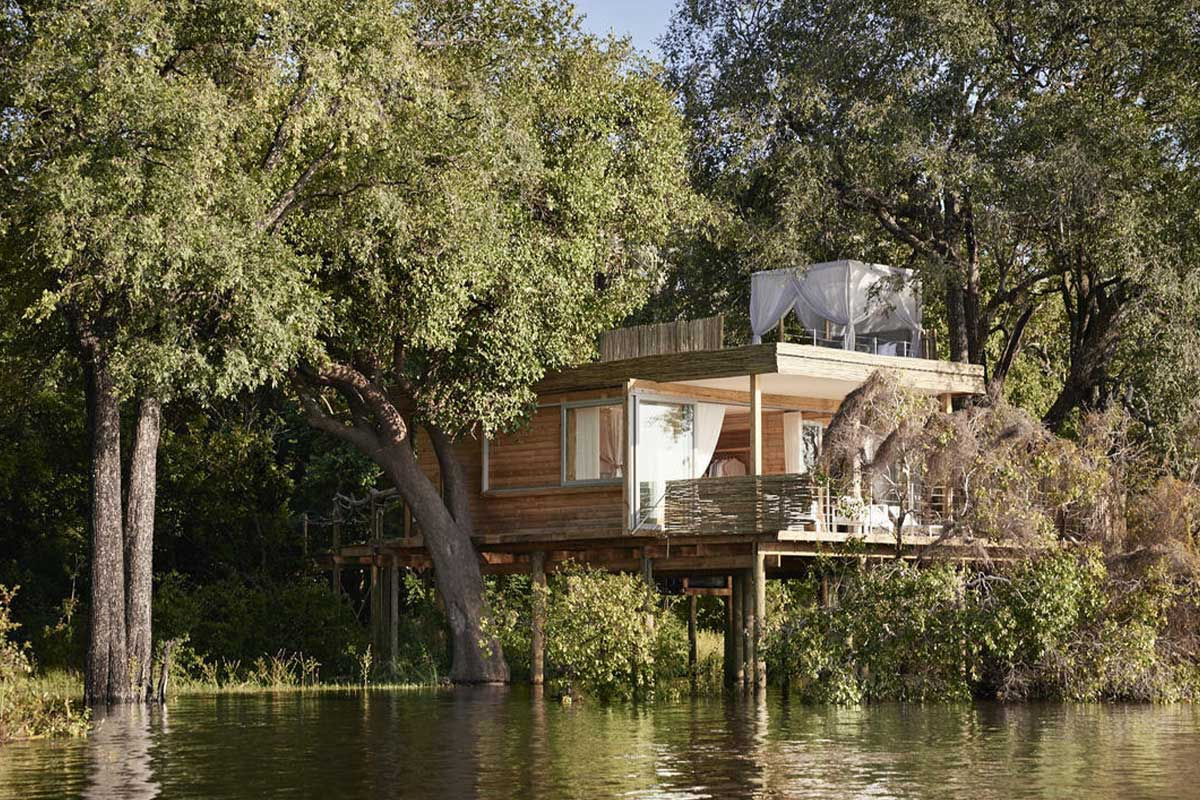 Exteior of the exclusive Island Treehouse Suites at Victoria Falls River Lodge, Zimbabwe.