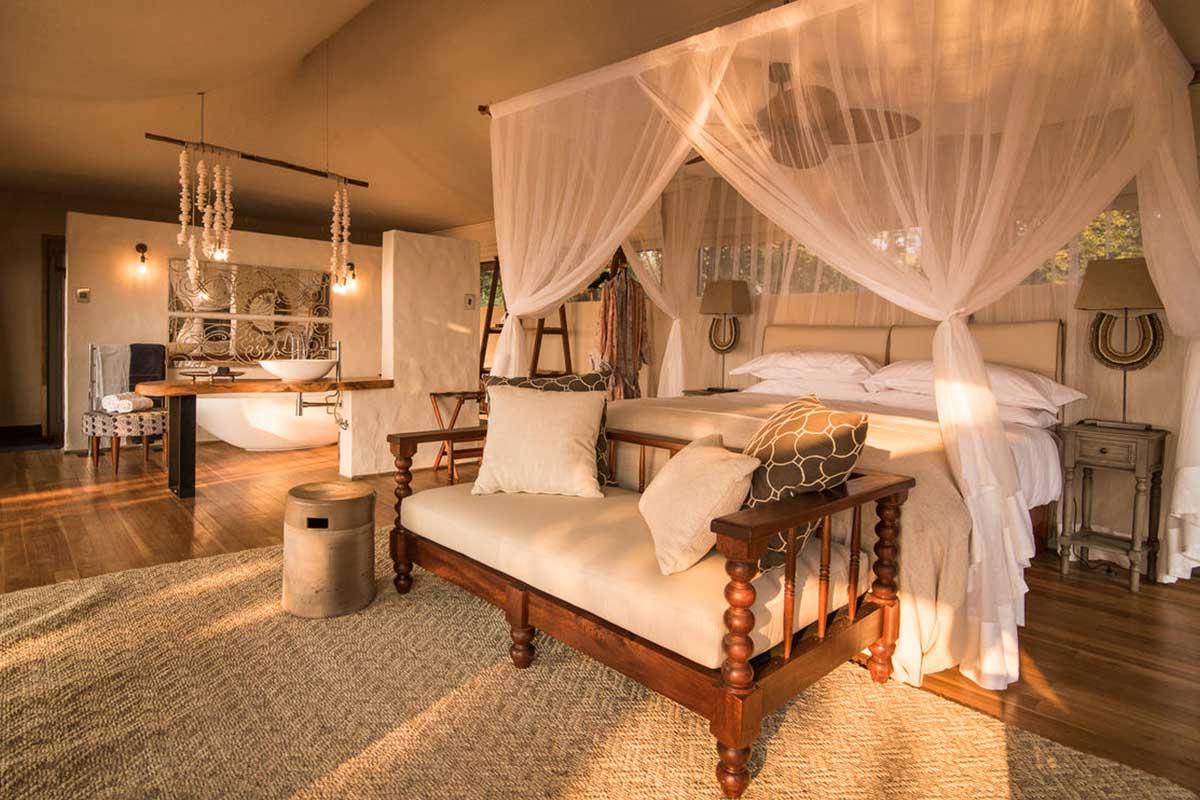 Luxurious suite interior of Chikwenya Camp in Mana Pools, Zimbabwe.