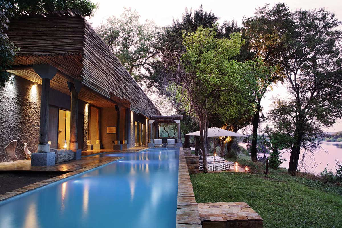 The private pool of Matetsi River House with picture-perfect Zambezi River views.