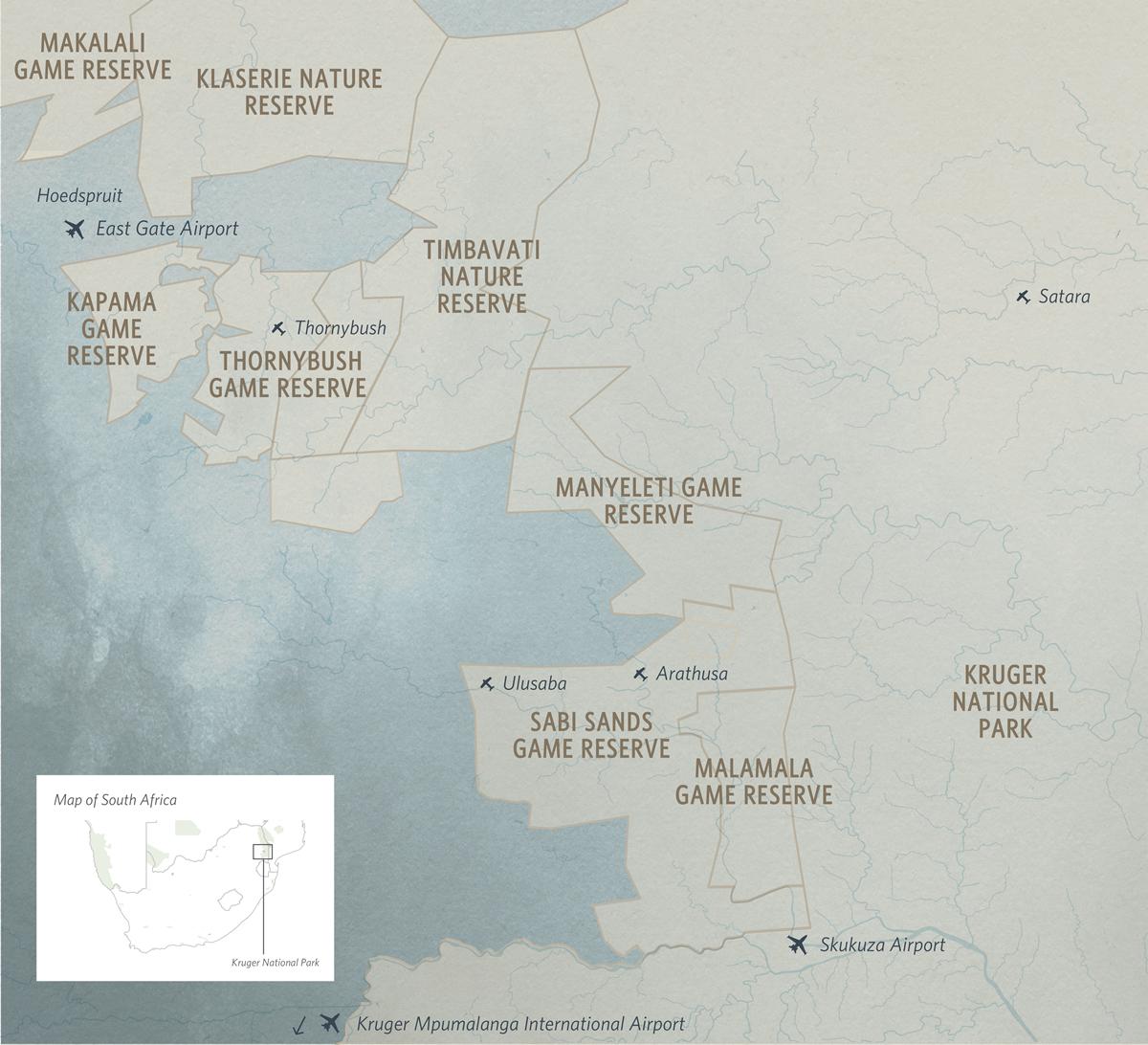 Map of Kruger National Park & Private Game Reserves   Go2Africa