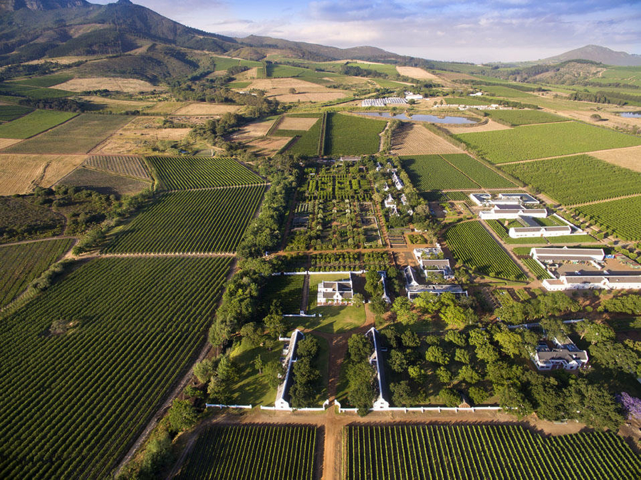 Aerial view of the Franschhoek Valley, Cape Winelands   Go2Africa
